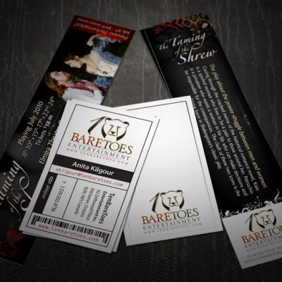 TenBareToes Entertainment: Bookmarks & Business Cards